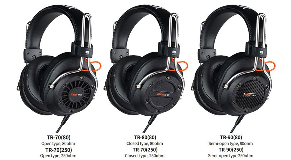 Casque audio professionnel semi-ouvert circum-aural avec transducteurs dynamiques de 40 mm de 80 ohms  – FOSTEX TR-90