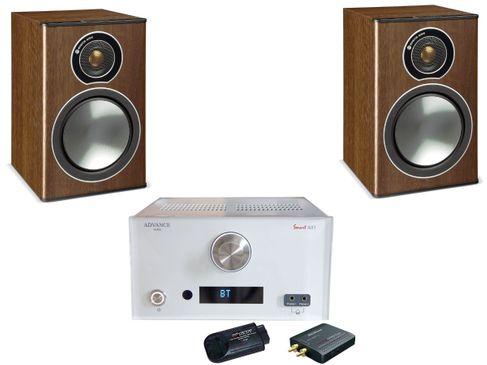 Advance MyConnect AX1 Blanc + Monitor Audio Bronze 1 Noyer
