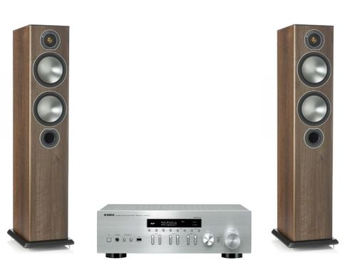 Yamaha R-N402D Silver + Monitor Audio Bronze 5 Noyer