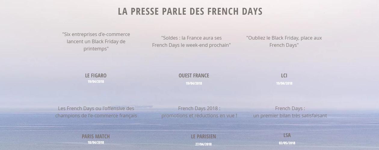 Les FRENCH DAYS dans la press (sources : Les French Days - site officiel)